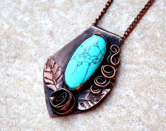 Turquoise necklace Turquoise jewelry Copper turquoise necklace Boho turquoise necklace Turquoise stone jewelry Bohemian turquoise necklace