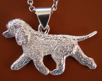 Large Sterling Silver Irish Water Spaniel Moving Study Pendant