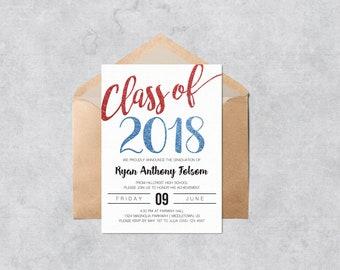 printable graduation invitation class of 2018 blue glitter