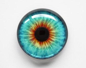 30mm handmade glass eye cabochon - turquoise / orange eye - standard profile