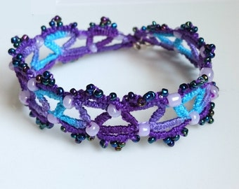 Bracelet Handmade  Tatted Frivolite Lace, tatting jewelry beaded