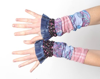 Purple ruffled cuffs, Stretchy cuffs in purple, blue and pink jersey patchwork, blue shiny ruffles, Gift for her, Womens accessories, MALAM
