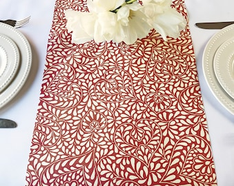 Table Runner Provence  Arles in Soft Burgundy - Easy Care Fabric - Please choose the size -
