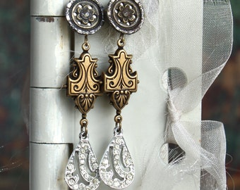 Antique Button and Rhinestone earring assemblage, statement, vintage buttons, victorian, jewelry, up cycled