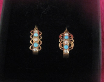 Gold earrings, antique pearl, turquoise different