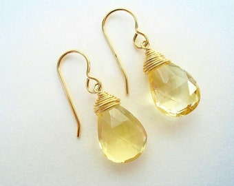 Citrine Gemstone Earrings, November Birthstone, Gold Citrine,Yellow Gemstone, Wire Wrapped Citrine,Yellow Stone Jewelry, Gold Gemstone