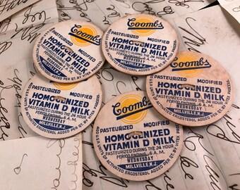 Set of 5 Vintage Milk Caps for Old Milk Bottles