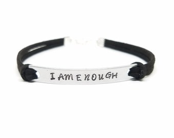 I AM ENOUGH Bracelet | Positive Affirmation Bracelet | Hand Stamped I AM Bracelet  | Mantra Bracelet  | You are Enough  | Good Enough