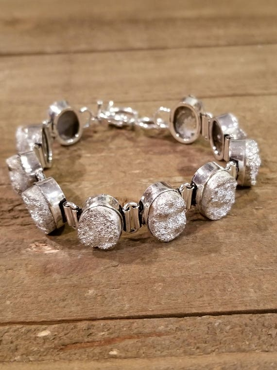 Silver Druzy Crystal Link Bracelet Earth Spirit Jewelry Fashion Natural Nature Boho Hippie (B57)