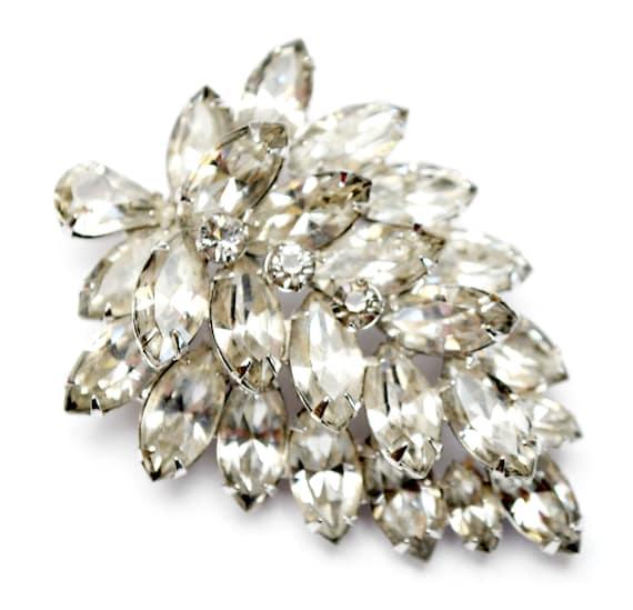 Weiss Rhinestone  leaf Brooch - Clear Ice Crystal stones - silver setting - Mid century  pin