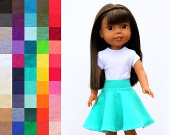 Fits like Wellie Wishers Doll Clothes - Skater Skirt, You Choose Color   14.5 Inch Doll Clothes