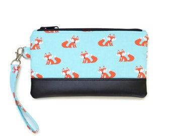 Cute Fox Wristlet Purse - Cell phone wristlet - iphone wristlet - Cell phone purse with optional matching coin purse- Fox Fabric Small purse