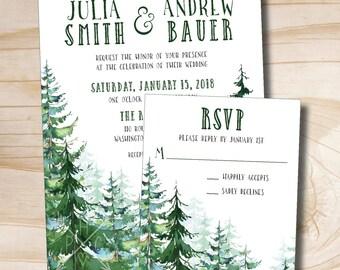 Watercolor Pine Tree Wedding Invitation and Response Invitation Suite