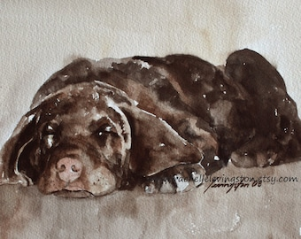 for him painting of dog painting chocolate labrador painting of labrador chocolate lab painting lab puppy chocolate lab  PRINT retriever art