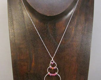 Silver wire bubble necklace with purple beads
