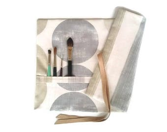 Artist Brush Roll Grey Stripes & Circles Watercolour Brush Roll