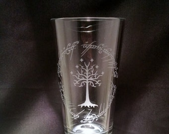 Lord Of The Rings Inspired Glass Elvish One Ring to rule them all writing around LotR tree Etched Pint Glassware