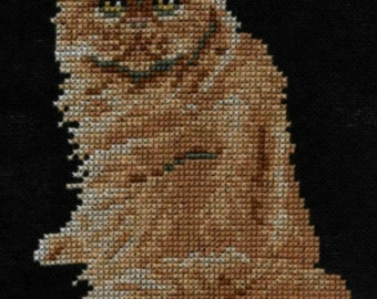Red Persian Cat counted cross-stitch chart