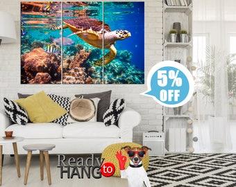 Sea Turtle, Sea turtle art, Sea animal, Marine life, Under the sea, Sea turtle print, Sea life, Under the sea, Canvas Art Animal Artwork