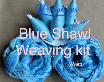 Blue Weaving Kit, Shawl kit, Weaving Loom Kit, How to Weave Kit, Loom Weaving, DIY Weaving Kit, Pre-wound Warp, Handweaving