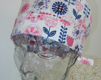 Tie Back Surgical Scrub Hat with Patchwork Stems