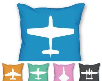 Aviation Pillow, Aviation Alphabet, Airplane Decor, Orange Throw Pillow, Boys Room Decor, Aviation Decor