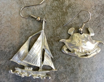 Pewter Artisan Nautical Sealife Earrings Pierced Maurice Milleur