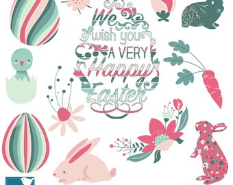 Spring Easter clipart, happy easter clip art, scrapbook, invitation, greeting cards - INSTANT DOWNLOAD
