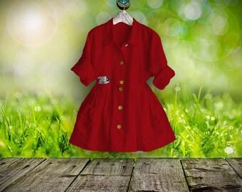 50 % SALE ,Plus sizes- US 18 - 34, UK 20 - 36 , Linen dress/blouse, rot,European Layering Look