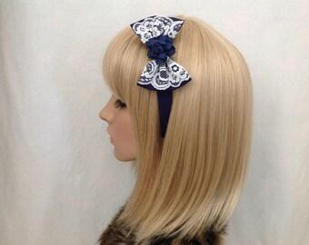 Navy blue white lace rose headband hair bow rockabilly psychobilly gothic Lolita wedding flower pin up girl vintage shabby chic pretty