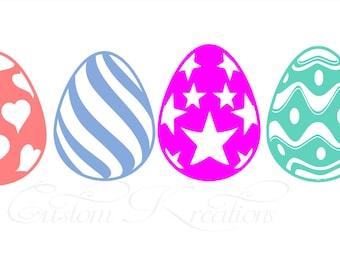 Decorative  Easter Egg x 4  SVG File