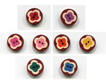 lot vintage 15mm choice wood flower buttons