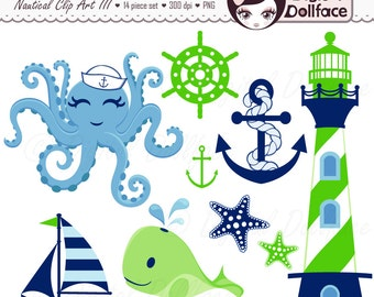Nautical Baby Boy Clipart, Whale, Octopus, Anchor Clip Art, Nautical Images