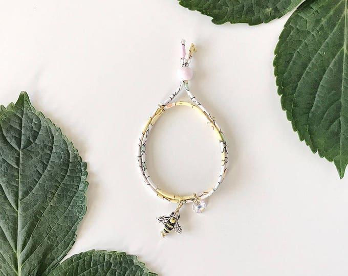 Liberty of London Charm Bracelet for Little Girls, Adjustable Size, Bumblebee Charm, giddyupandgrow