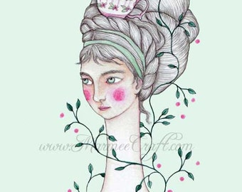 "MarmeeCraft art print, ""My Garden in a Tea Cup"""