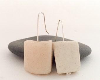 White Stone Bead Earrings, Minimalist Earrings