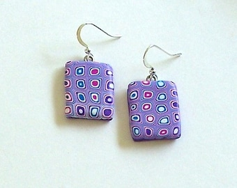 Lavender Pixelated Cane Polymer Clay Earrings by Carol Wilson of PollyClayDesigns
