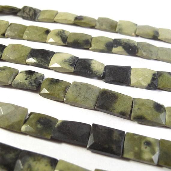 Green Jasper Beads, Natural Chita Jasper Chicklets, 15 Inch Strand, 12mm x 9mm - 14mm x 11mm, 20 Natural Gemstones, Rectangle Beads (S-Ja3)