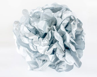 "CLEARANCE - Silver tissue paper Pom Pom. 12"". Paper decorations. Party decor.  Tissue poms.  Hanging party decoration.  Hanging paper decor."