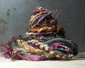 magical forest fringe effects™  21yds luxury art yarns ribbon fiber bundle . pine green olive copper violet purple gold sparkle sequins