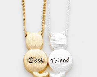 """Beautiful """"Best Friend"""" 2 Pcs Cat Friendship Matte Silver And Gold-Tone Pendant Necklace, Birthday Gift, Thank You Gift"""