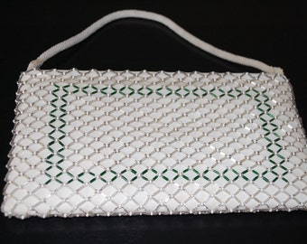 Beaded White/Green Clutch. Vintage