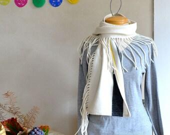 Fringed Scarf Super Soft Merino Wool Winter White Black Stripe