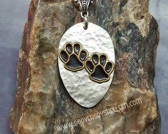 BRASS PAW PRINTS soldered vintage silver plate upcycled spoon necklace