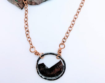 mountains copper and sterling silver necklace