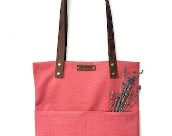 Tote Bag with Embossed Leather Handles - Tulip