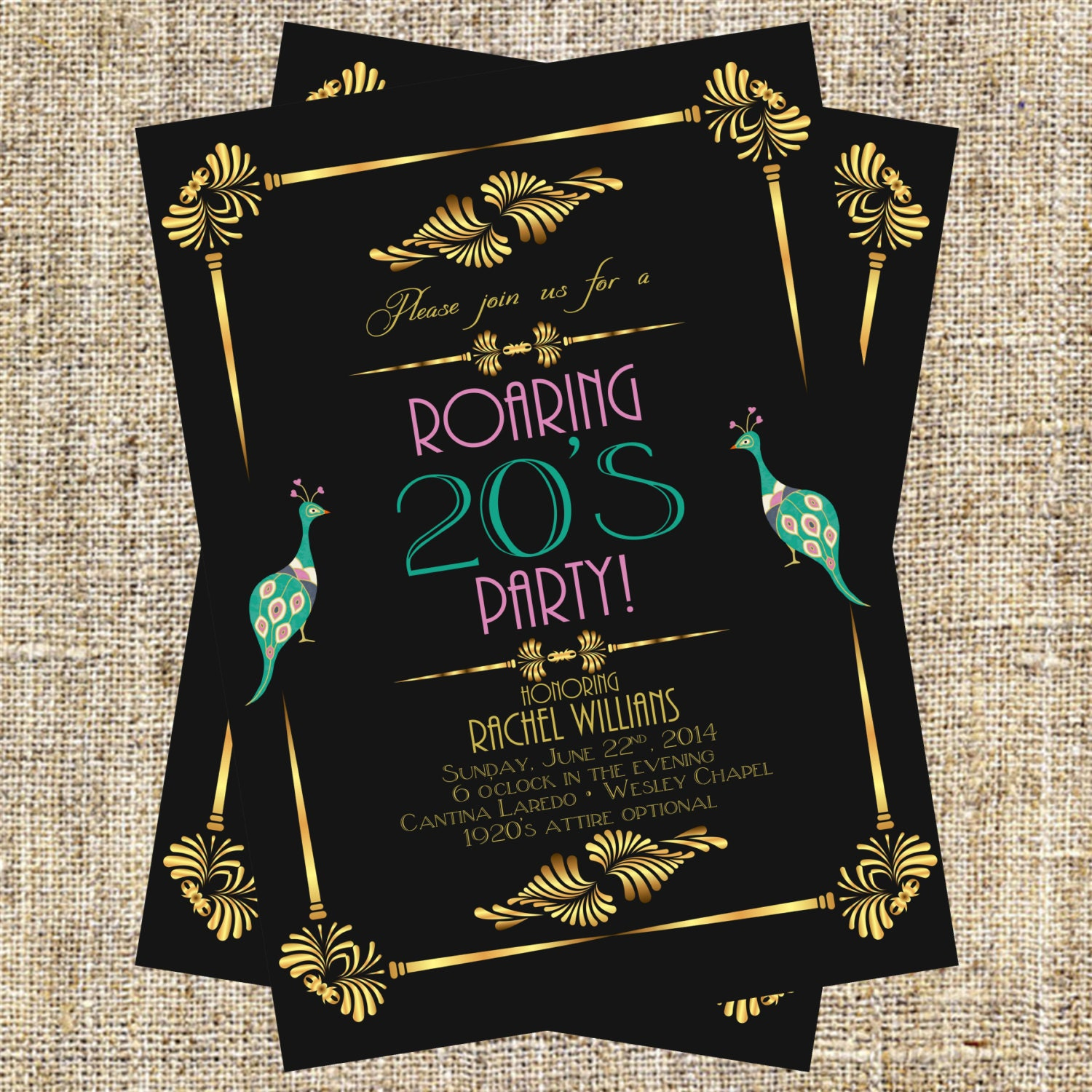 1920\'s Party Invitation Art Deco Invitation Flapper