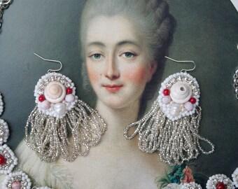 Decadent Shell & Fringe Statement Earrings; Beaded Fringe Earrings; Pastel Marie Antoinette Earrings; Pastel Mermaid Earrings