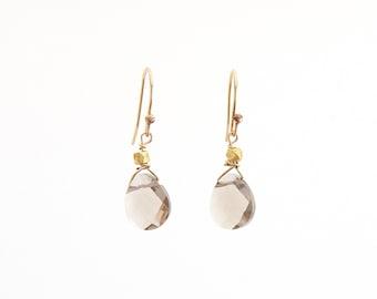 Sister Gift • Dainty Earrings • Wedding Earrings • Smokey Quartz • Teardrop Earrings • Stone Earrings • Quartz Earrings • Gift for her
