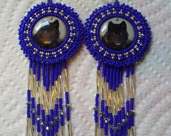 Black Wolf beaded rosette earrings